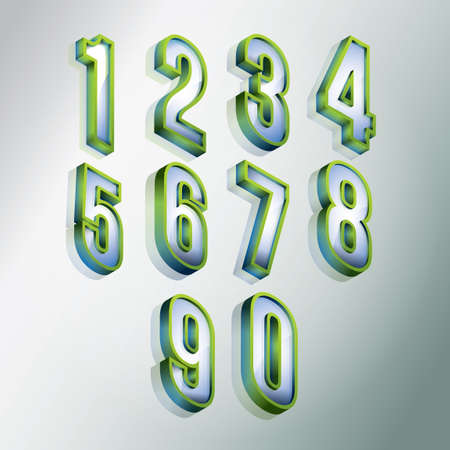 3 dimensional: Isometric numbers collection Illustration