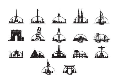 Set of famous landmarks
