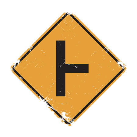 perpendicular: Side road at a perpendicular angle sign Illustration
