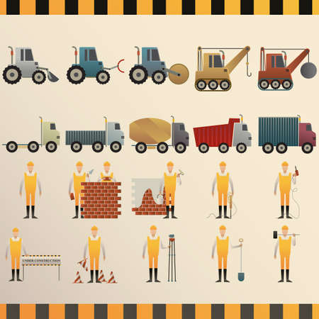 road construction: Collection of construction machinery and workers Illustration