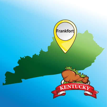 kentucky: Map of kentucky state with chicken drumstick Illustration