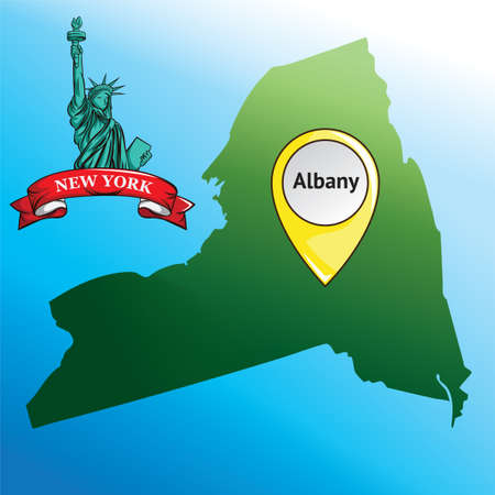 new york state: Map of new york state with statue of liberty