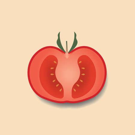 sliced: En rodajas de tomate  Vectores
