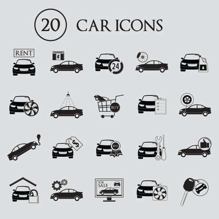 car for sale: Collection of car icons Illustration