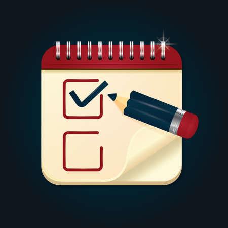 scribbling: Scribbling pad with tick mark