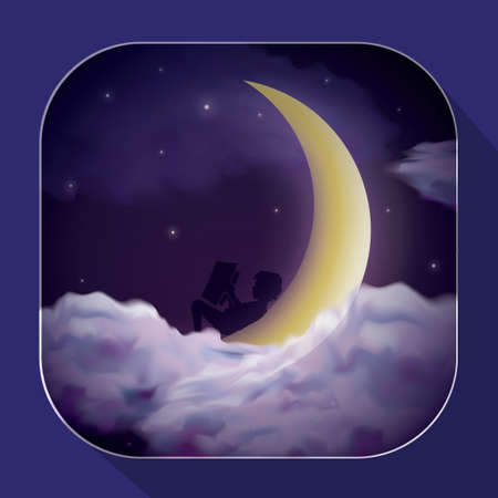 lying down: Boy lying down on the moon and reading book Illustration