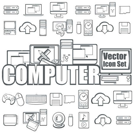 console table: Collection of computer icons Illustration