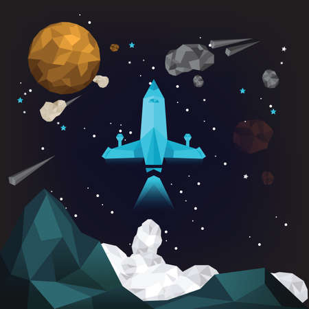 spacecraft: Spacecraft in outer space Illustration