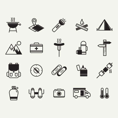 fire pit: Camping and road trip icons