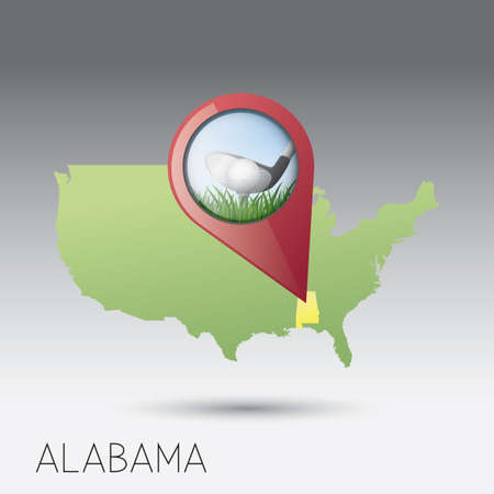 Alabama: USA map with alabama state