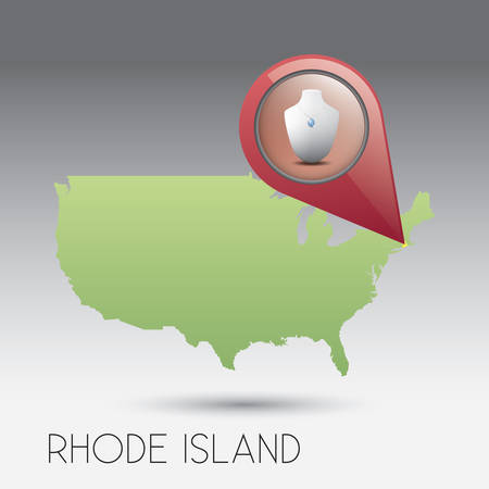 island state: USA map with rhode island state Illustration