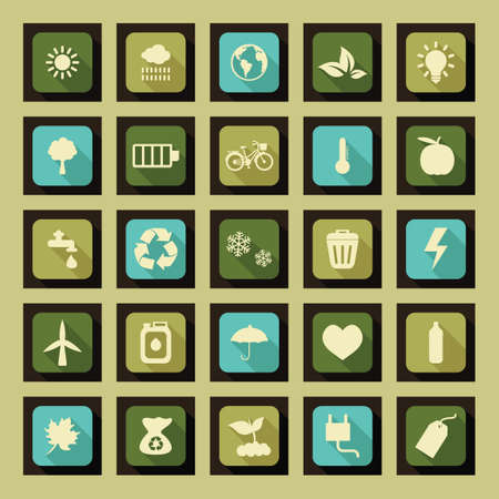 eco icons: Set of ecology icons Illustration