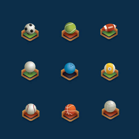 rugby field: Set of isometric sports ball Illustration