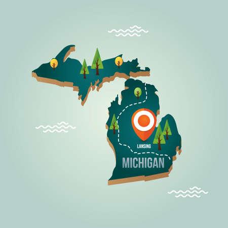 Michigan kaart met hoofdstad