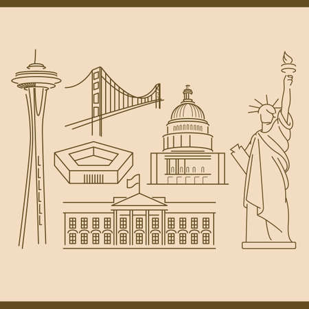 space needle: Collection of usa monuments