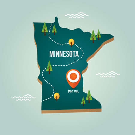 minnesota: Minnesota map with capital city