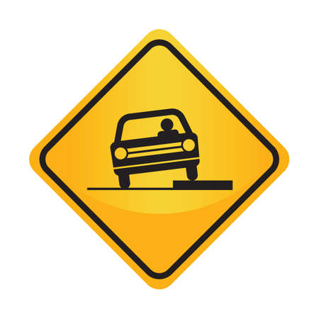 dropoff: Shoulder drop-off sign Illustration