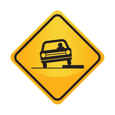 dropoff: Shoulder drop-off sign Illustration