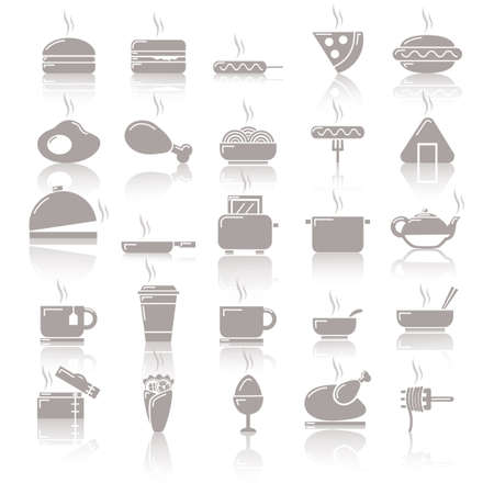 fried noodles: Collection of food icons
