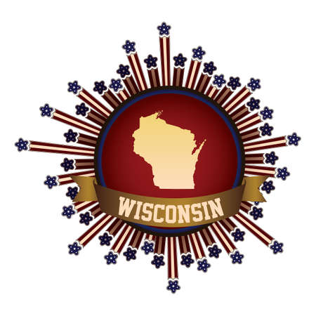 wisconsin state: Wisconsin state button with banner