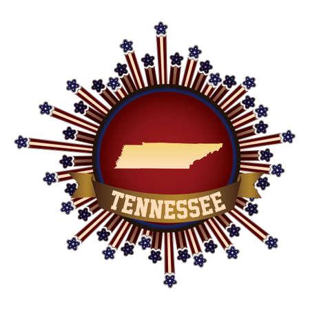 tennesse: Bot�n del estado de Tennessee con la bandera Vectores