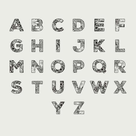 letter q: Alphabet set in decorative style