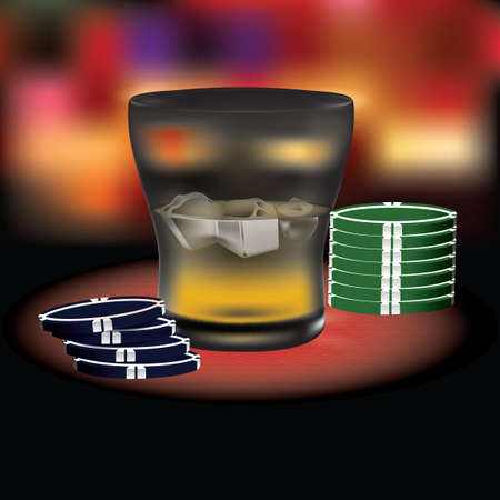 poker chips: Poker chips with a glass