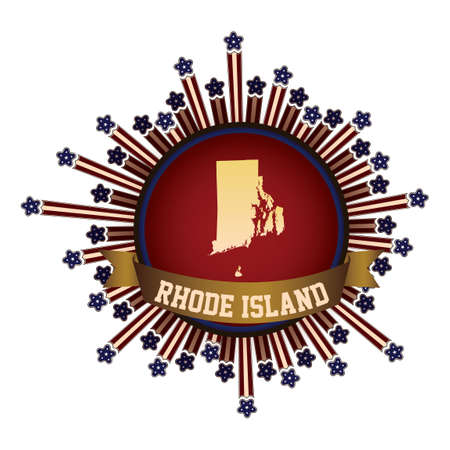 island state: Rhode island state button with banner