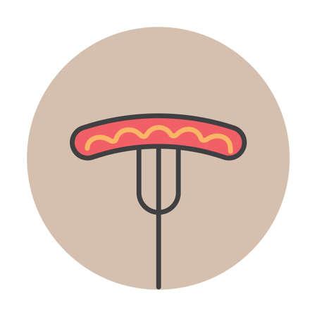 german sausage: Sausage on a meat fork Illustration