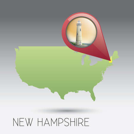 hampshire: USA map with new hampshire state