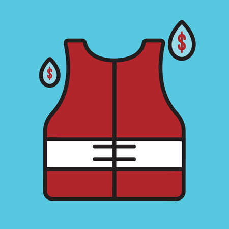 life jacket: Life vest with water drops Illustration