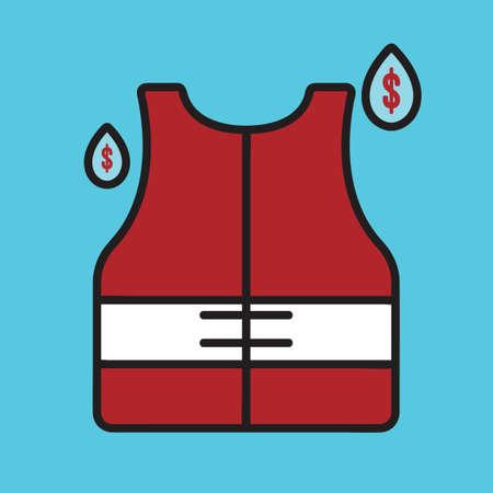 emergency vest: Life vest with water drops Illustration