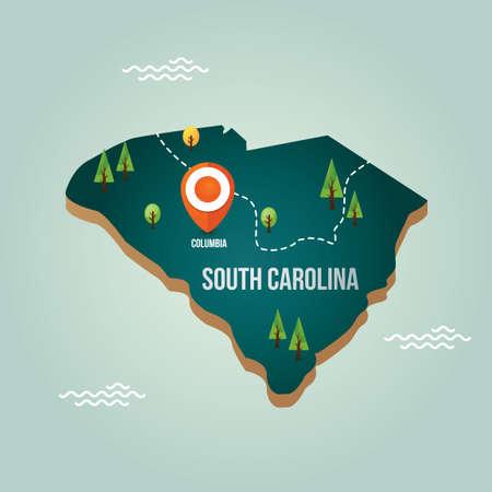 South carolina map with capital city Ilustração