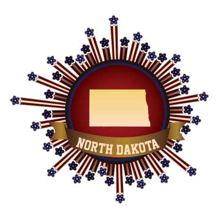 dakota: North dakota state button with banner