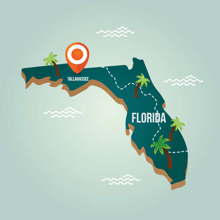 Florida map with capital city Illustration