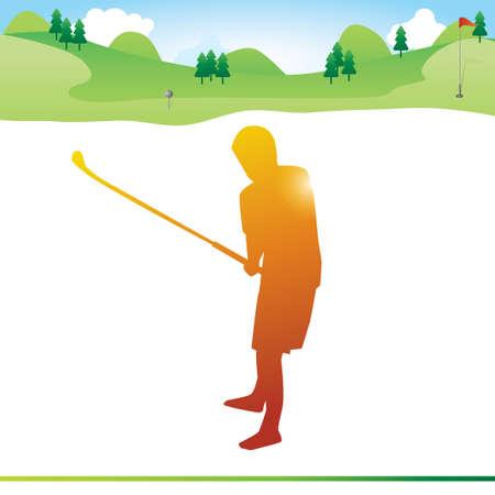 golfer swinging: Golfer swinging golf club on the field