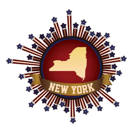 new york state: New york state button with banner