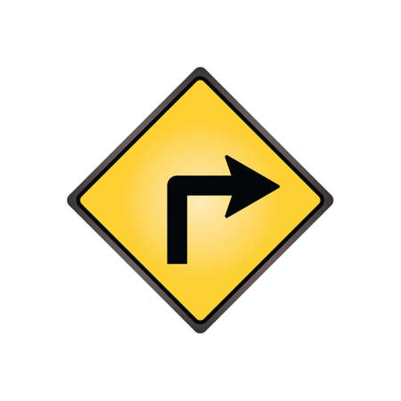 turn yellow: Turn right sign