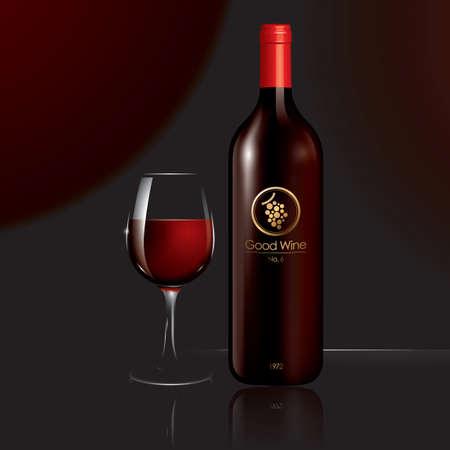 wineglass: Wine bottle and wineglass