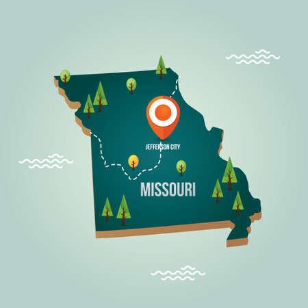 missouri: Missouri map with capital city