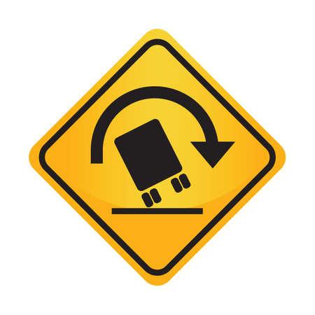 rollover: Truck rollover warning sign Illustration