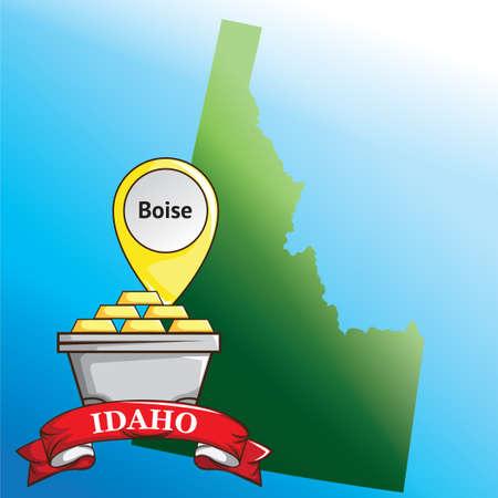 gold bullion: Map of idaho state with gold bullion