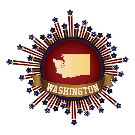 washington state: Washington state button with banner