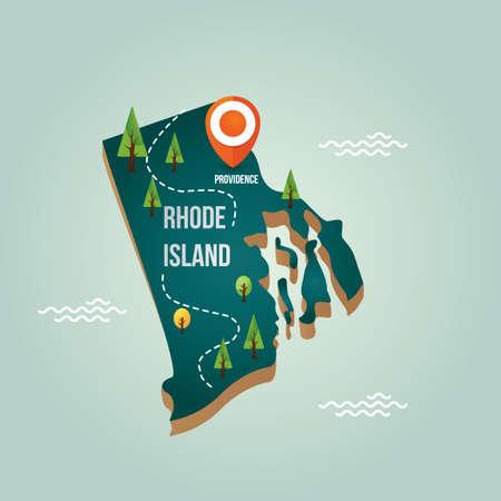 Rhode Island kaart met hoofdstad