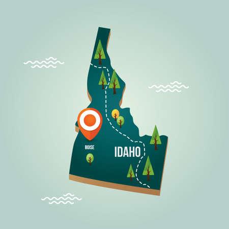 idaho: Idaho map with capital city