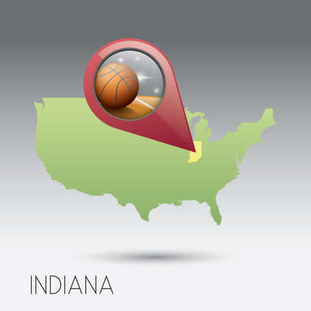indiana: USA map with indiana state Illustration