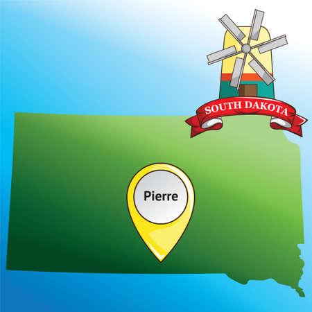 south dakota: Map of south dakota state with windmill