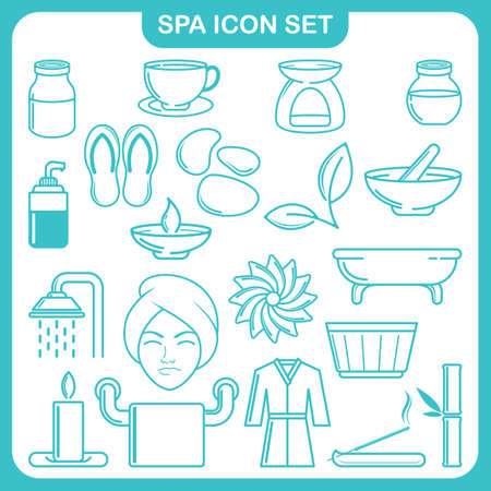 rejuvenation: Collection of spa icons Illustration