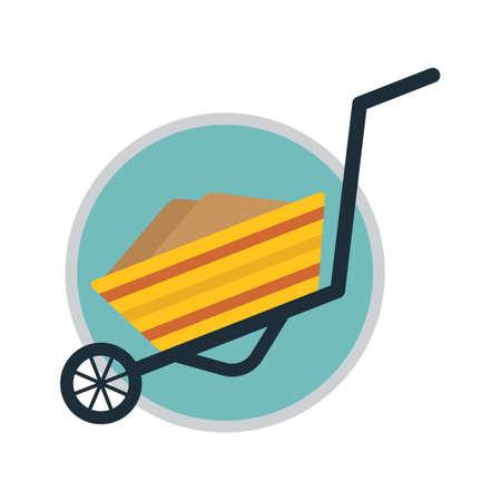 hand cart: Wheelbarrow Vectores