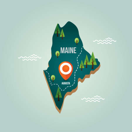maine: Maine map with capital city Illustration